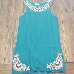 Anthropology | THML Embroidered Boho Dress